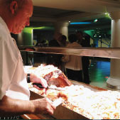 Chef carving hog roast